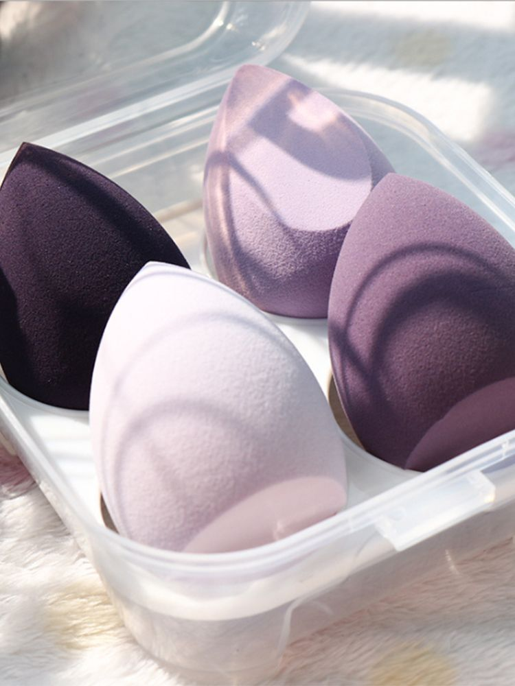 Makeup-Blender Sponge Foundation-Powder Cosmetic-Puff Storage-Box Beauty-Tool Women 4/1pc
