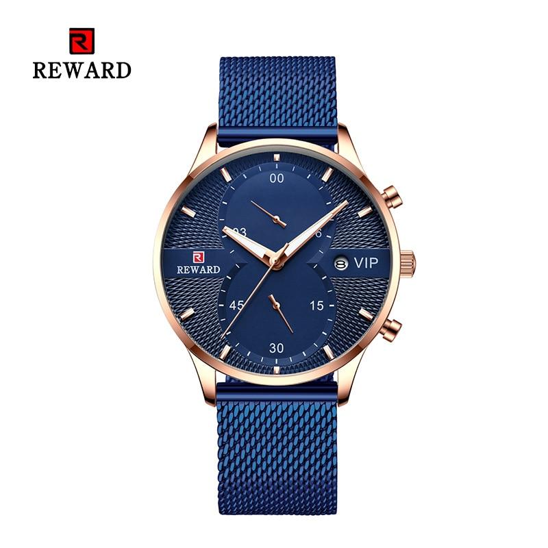 2019 REWARD Men Watch Chronograph Sport Mens Watches Top Brand Luxury Waterproof Steel Belt Quartz Gold Clock Relogio Masculino