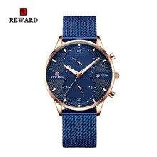 2019 nagroda mężczyzna zegarka Chronograph sportowe męskie zegarki Top marka luksusowe wodoodporna pas stalowy kwarcowy złoty zegar Relogio Masculino