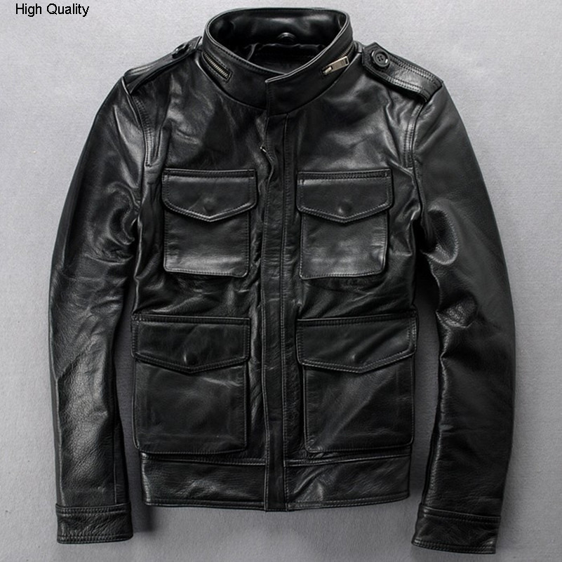 Fashion M65 Genuine Leather Jacket Men Black Real Cowskin Slim Fit Motorcycle Jacket Men Men's Casual Biker Jacket With Pockets