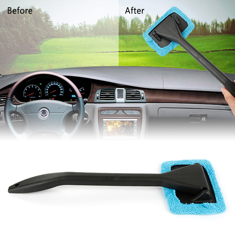 1pc Microfiber Auto Window Cleaner Long Handle Car Washable Car Brush Window Windshield Wiper Cleaner Car Cleaning Tool Dropship