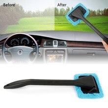 Limpador de janela de microfibra, limpador de janelas de carro com cabo longo, escova lavável, para janela, limpador de vidro, ferramenta de limpeza de carro, 1 peça