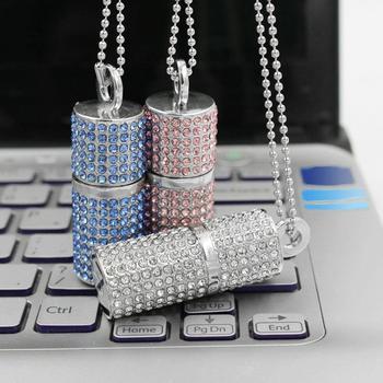 Silver Pink Blue Jewelry Crystal Usb Flash Drive 3.0 Necklace Chain 8GB 16GB 32GB Pen Drive 1TB 2TB Pendrive 64GB USB Stick Gift