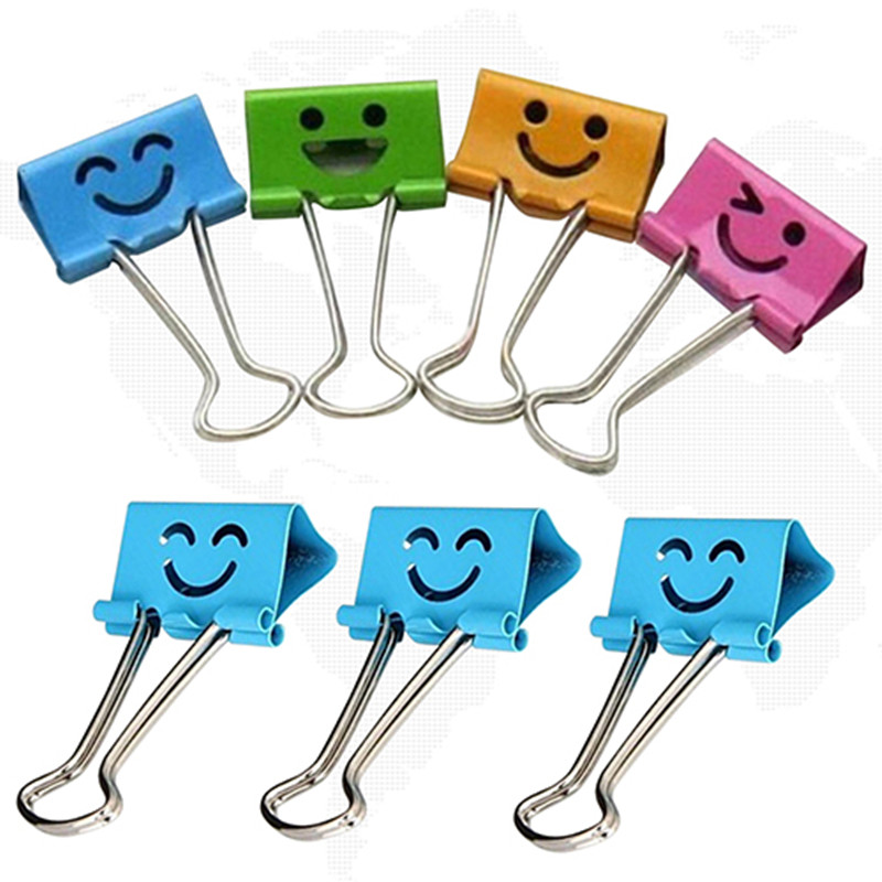 10Pcs Paper Clip Smile Metal Binder Clips For Notes Letter Paper Books Home Office School Stationery Paper Document Clips Clamps