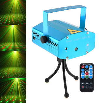Mini Green Red LED Stage Effect Light Auto Voice Xmas Festival Party Disco DJ KTV Bar Club Laser Projector Lamp with Remote tiptop tp e36 professional club dj disco projector stage laser light party green red voice control 20w shaking glass laser beam