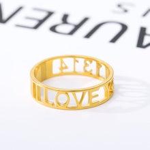 Индивидуальные Имя Кольца полые письмо выгравированы кольца