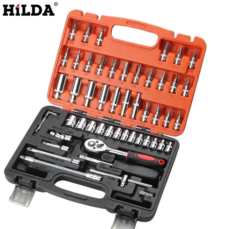 HILDA 53 Pcs Car Repair Tool Sets Combination Tool Wrench Set Batch Head Ratchet Pawl Socket Spanner Screwdriver Socket Set