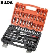 HILDA 53 sztuk naprawa samochodów zestawy narzędzi klucz kombinowany zestaw kluczy głowica Ratchet zapadka klucz nasadowy śrubokręt zestaw gniazd