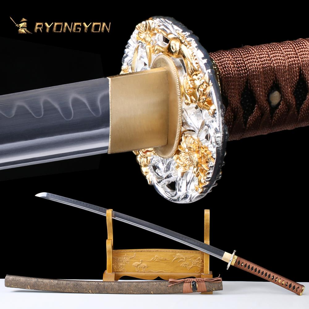 RYONGYON Handmade Katana Real Sword Sharp Samurai Sword Genuine Japan Ninja Sword T10 Steel Full Tang Clay Tempered Blade 612