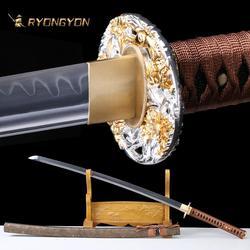 RYONGYON fait à la main Katana véritable épée forte samouraï épée véritable japon Ninja épée T10 acier pleine Tang argile trempé lame 612