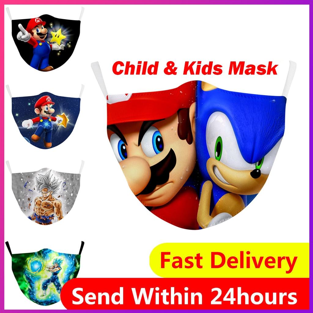 Мультяшный рюкзак с принтом Супер Марио детская маска Многоразовые моющиеся маски для лица PM2.5 фильтр Маска Ветрозащитная маска для лица дл...