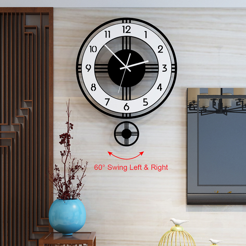 Silent Pendulum Large Wall Clock Modern Design Battery Operate Quartz Hanging Clock Home Decor Kitchen Wall Watch Free Shipping