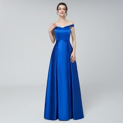 Cheap Long Evening Dresses Simple Satin Off-The Shoulder Sleeveless Prom Party Gowns Royal Blue zip Back Customized Floor Length
