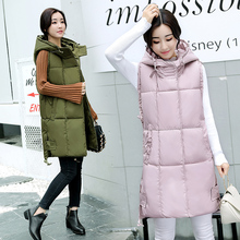 BJCJWF New Brand Winter Womens jacket Windproof Warm Long Cotton Waistcoat Casual Sleeveless hooded femme coat veste
