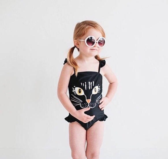 INS Summer Beach Hot Springs Girls Dress-Tour Bathing Suit Cat Cute Cartoon Swimsuit With Shoulder Straps New Style
