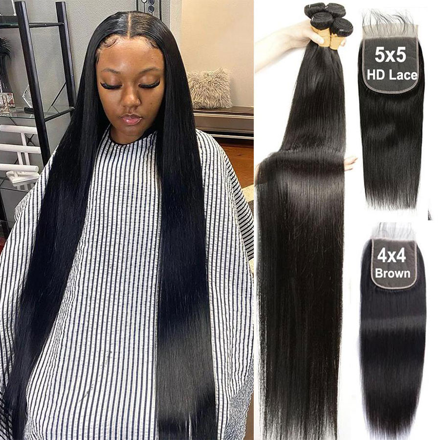 Straight Bundles With 6x6 Lace Closure 32 36 38 Inch Brazilian Hair With Closure Human Hair Bundles With Closure Remy Hair