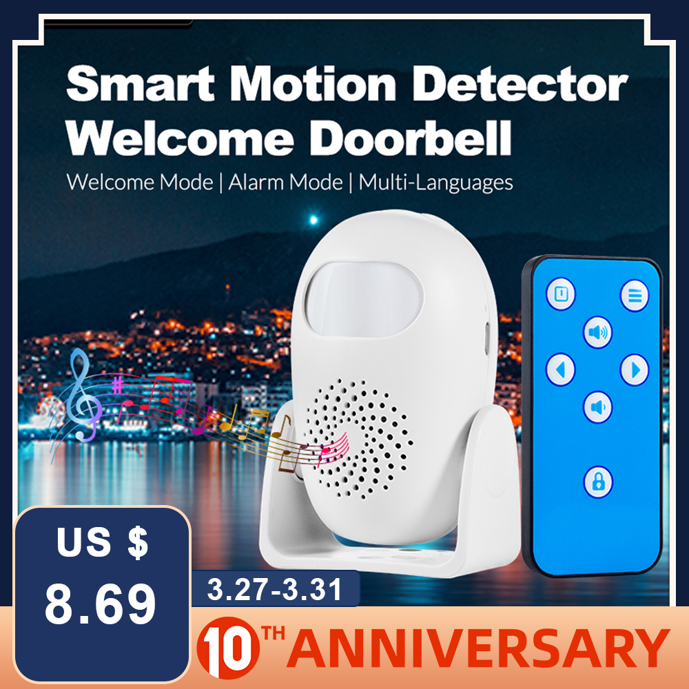 FUERS M120 Alarm Doorbell Home Security PIR Motion Detection Welcome Chime Doorbell Anti theft Remote Control Strobe Light Greet|Sensor & Detector| |  - title=