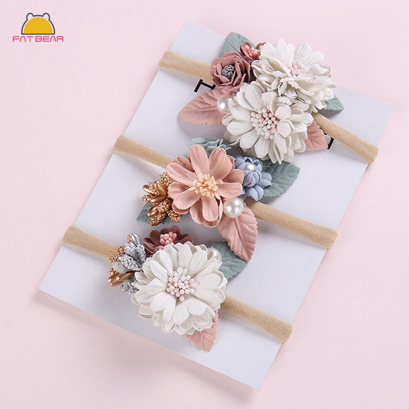 Peral Floral Baby Headbands For Girls Headmade Princess Elastic Soft Flower Baby Headband Hairband Newborn Hair Accessories 2019