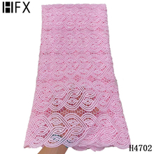 HFX Pink French Guipure Lace Fabric 2021 High Quality Embroidery African Cord Lace Fabric For Nigerian Wedding Dress F4069