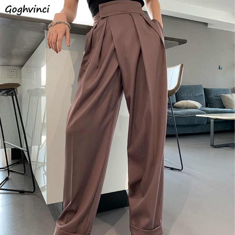 Casual Pants Loose Solid Simple Spring New Floor Length All-match Chic Trendy Womens Elegant Blazers Trousers Slim Ins Ulzzang