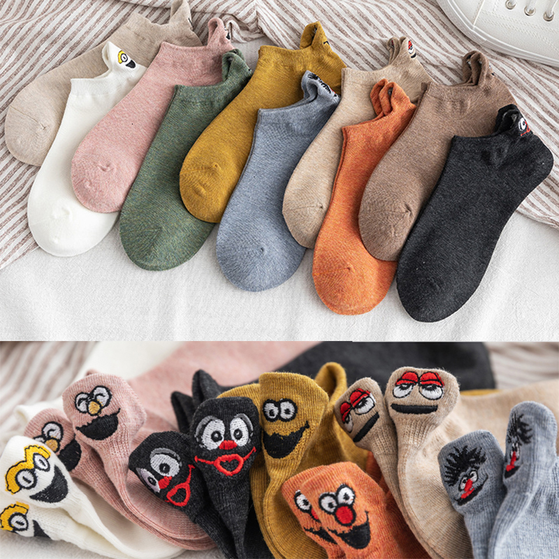 5 Pairs Harajuku Women Socks Ankle Cute Socks 10 Colors Kawaii Embroidered Expression Funny Socks Happy Skarpetki  Winter Socks