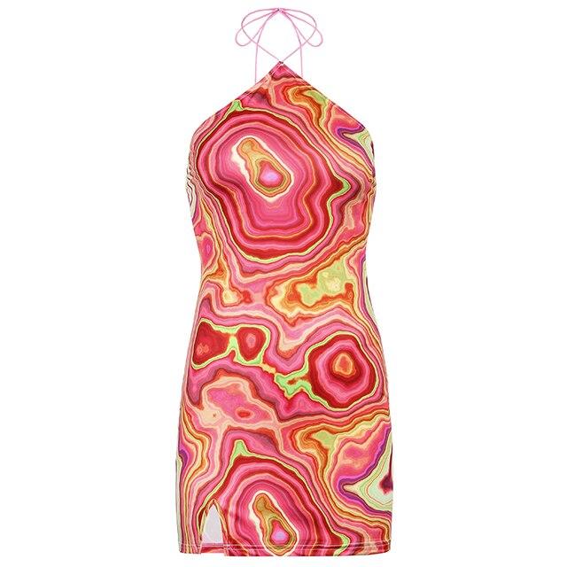 HEYounGIRL-Vestido corto con estampado de ondas para mujer, vestido Sexy con espalda descubierta y cuello Halter, sin mangas para fiesta de verano, ropa de calle elegante de los años 90 6
