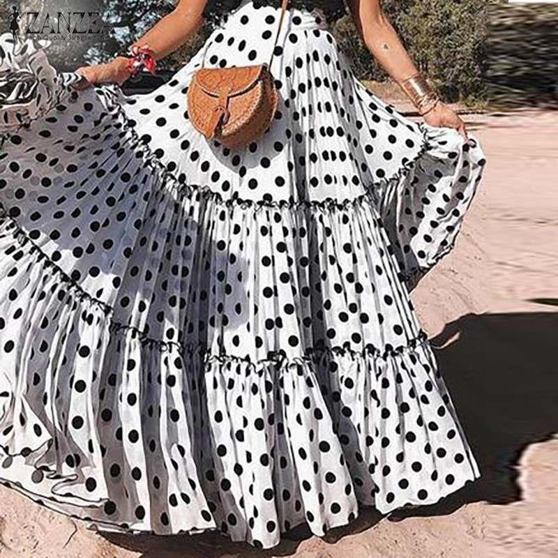 ZANZEA Women Polka Dots Bohemian Skirt Casual Large Swing Skirts Jupe Femme 2019 Korean Fashion Summer Ladies Long Maxi Skirts
