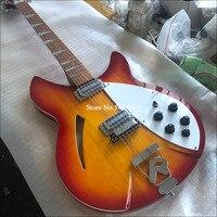 Guitarra eléctrica de 12 cuerdas, diapasón de caoba, pintura brillante de diapasón, guitarra de medio núcleo vacío, 360