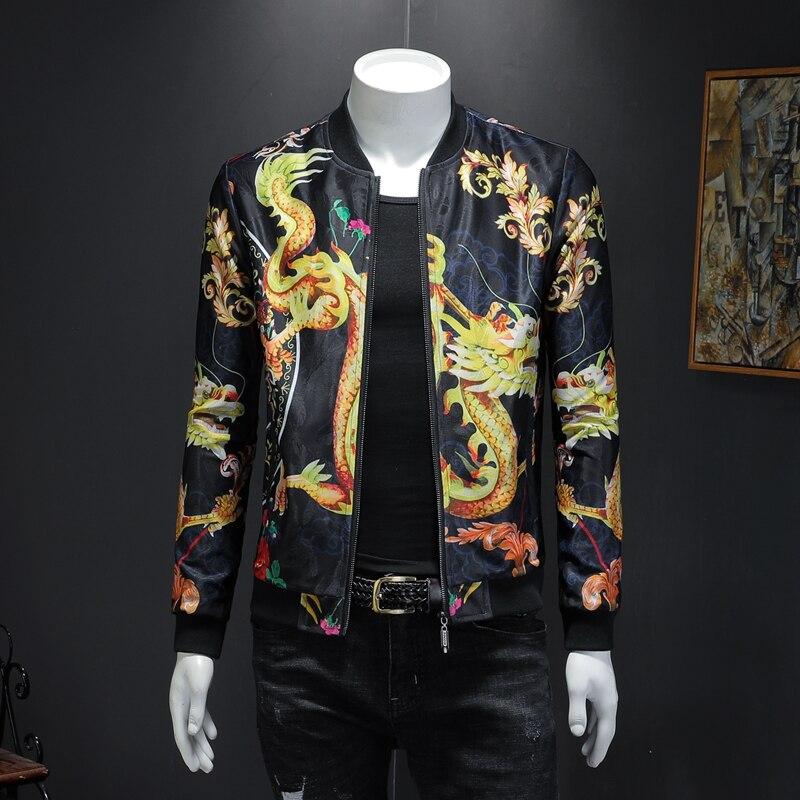 Dragon glace soie impression de nouveau fonds de 2019 automne veste hommes homme qiantang 3029-JK1911-P95 faux moule