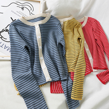 Mooirue Vintage Autumn Striped Short Sweater Button Thin Tops Casual Streetwear O Neck Korean Style Long Sleeve Knitting