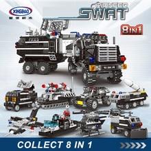 XINGBAO NEW 13003 Swat Series 8 IN 1 Pioneer Swat Truck Sets Building Blocks Armored Vehicles Bricks Compatible Legoings Swat цена