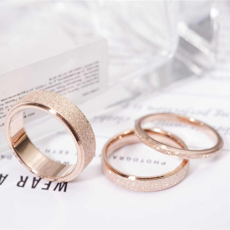 KNOCK High quality Fashion Simple Scrub Stainless Steel Women 's Rings 2 mm Width Rose Gold Color Finger  Gift For Girl Jewelry