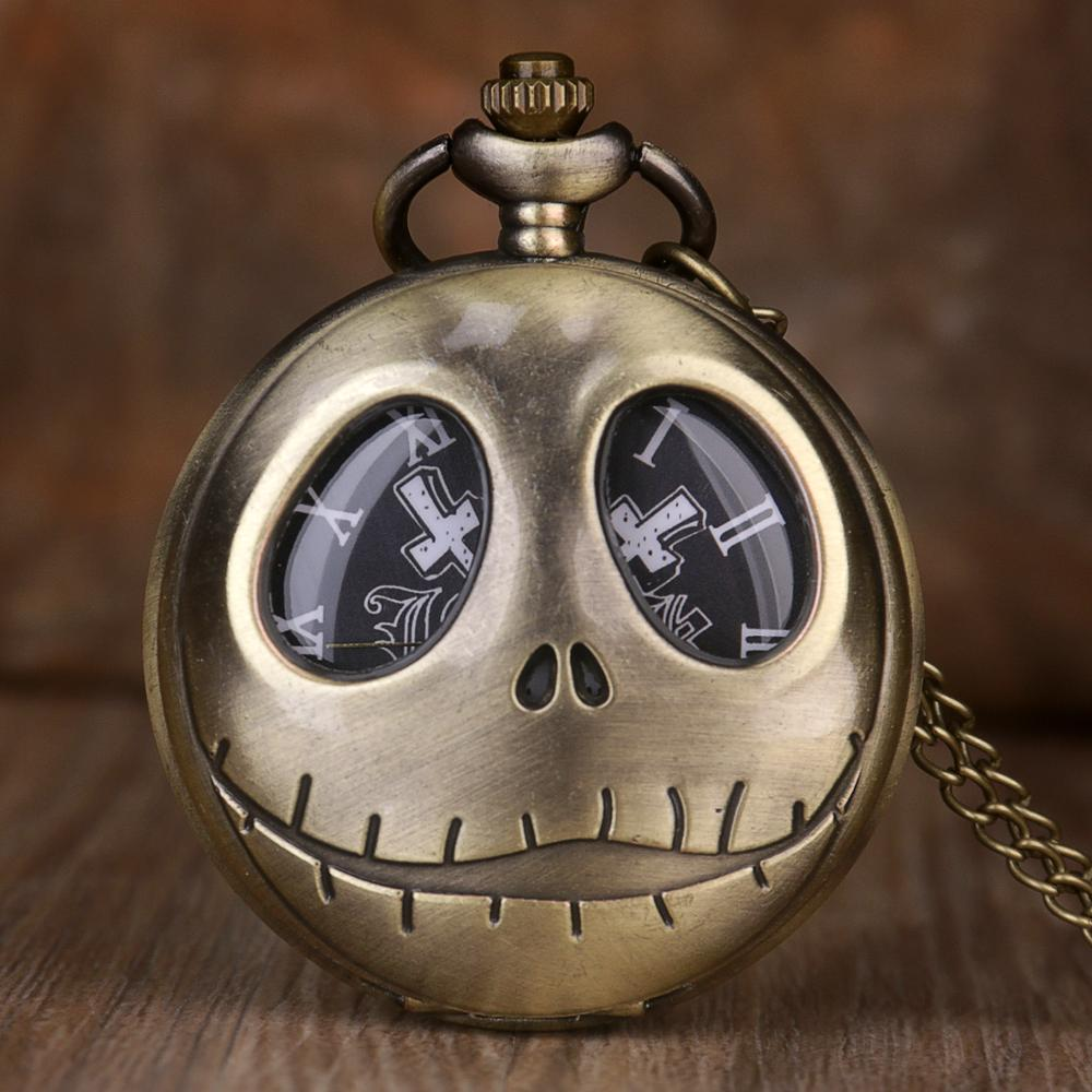 Hot Movie Theme Pocket Watch For Men The Nightmare Before Christmas Quartz Pocket Watches Mens With  Chain Mens Fob Watch