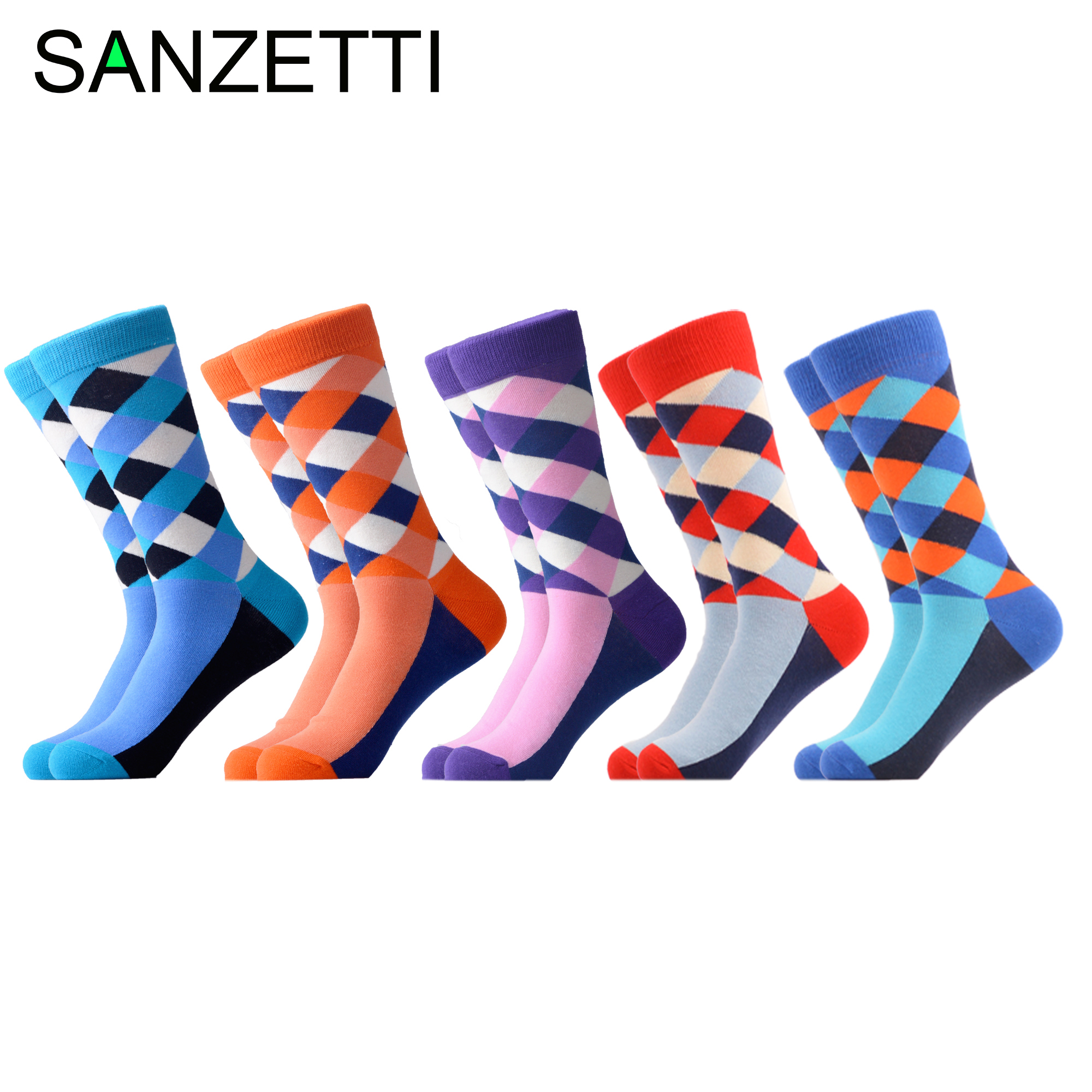 SANZETTI 5 Pairs/lot Funny Men's Classic Combed Cotton Casual Dress Socks Grid Stripe Pattern Colorful Wedding Socks For Gifts