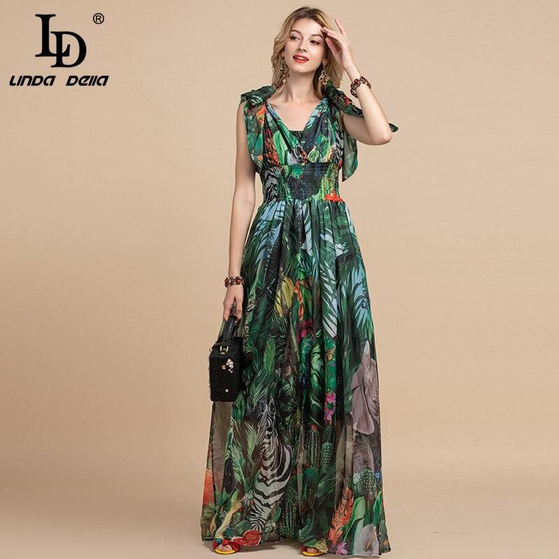 LD LINDA DELLA Summer Fashion Runway Maxi Dress Women's V-Neck Elastic Vintage Flowers Print Holiday Boho Long Dress Plus Size
