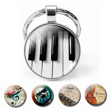 Piano Keychain Music Instruments Glass Cabochon Jewelry Key Chains Guitar Clarinet Flute Violin Pendant Keyring Christmas Gifts m obiols divertimento for flute clarinet and piano