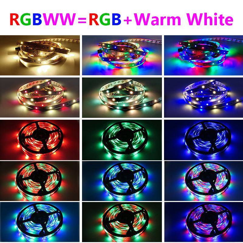 5M 10M RGBWW RGB LED Strip Lights 15M 20M 30M Led Lights Strip Tape SMD 2835 DC12V NO Waterproof Tape with adapter