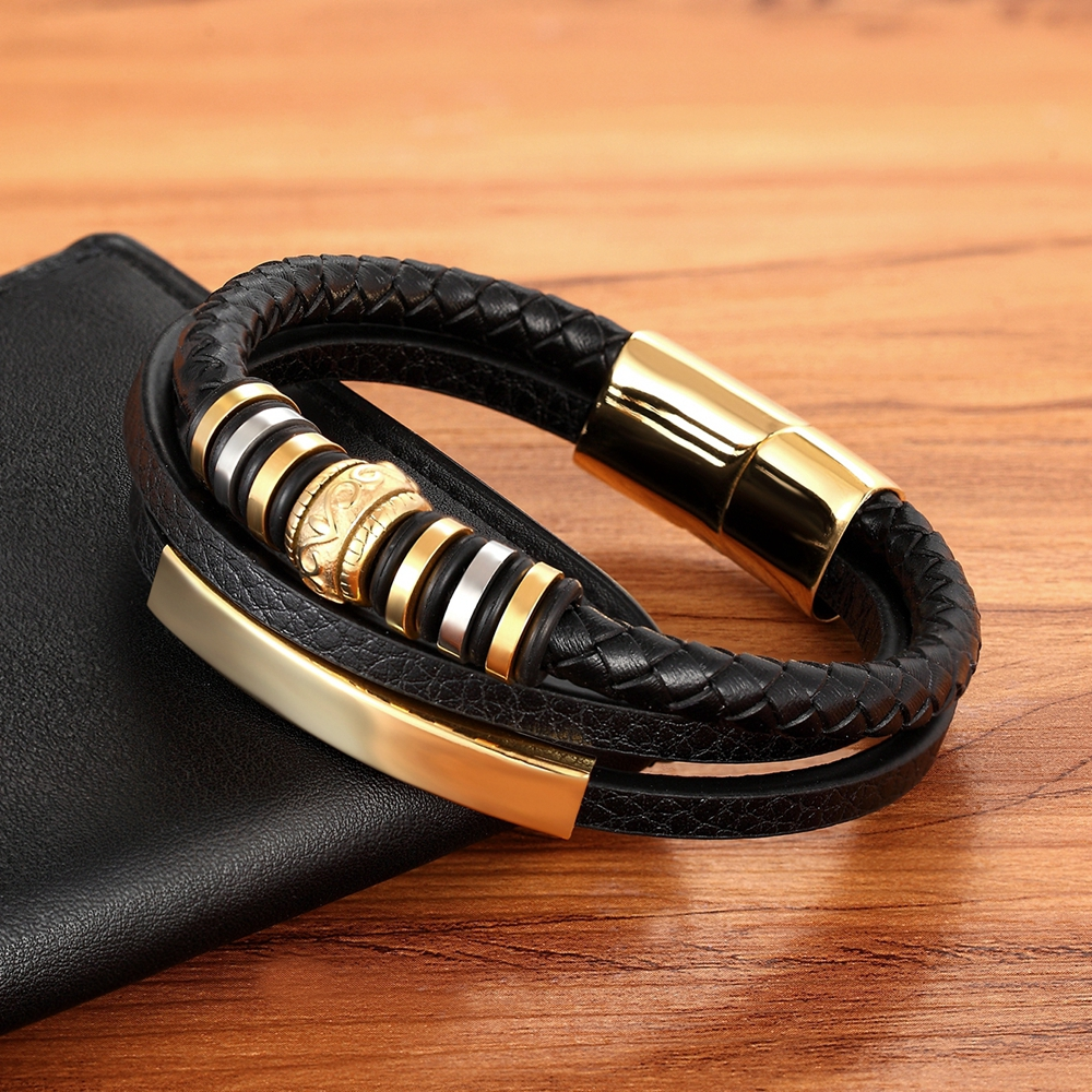 2020 Promotion Multi-layer Leather Stainless Steel Metal Luxury Men's Leather Bracelet Accessories For New Year's Gift