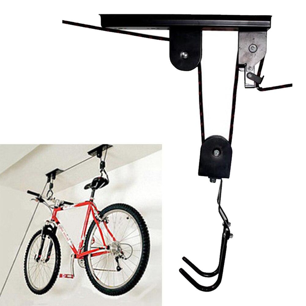 Accessories Durable Storage Bicycle Rack Metal Holder Ceiling Mounted Hanger Bike Lift Garage Display Hook Pulley Saving Space|Bicycle Rack| |  - title=