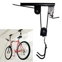 Accessories Durable Storage Bicycle Rack Metal Holder Ceiling Mounted Hanger Bike Lift Garage Display Hook Pulley Saving Space