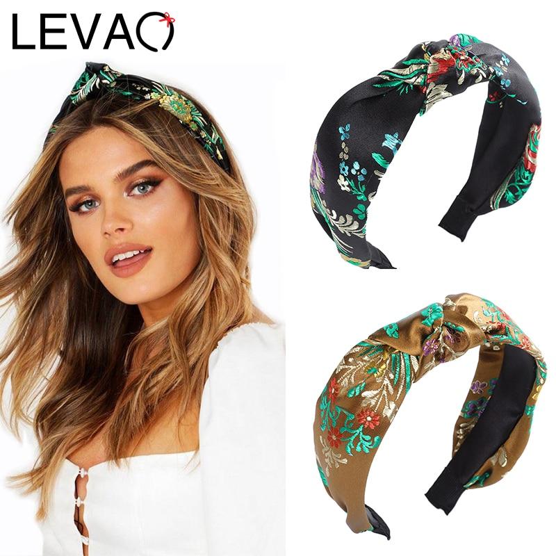 LEVAO Embroidered Headband Chinese Style Hairbands Female Bezel Turban Women Girls Hair Accessories Head Hoop Fashion Hair Band