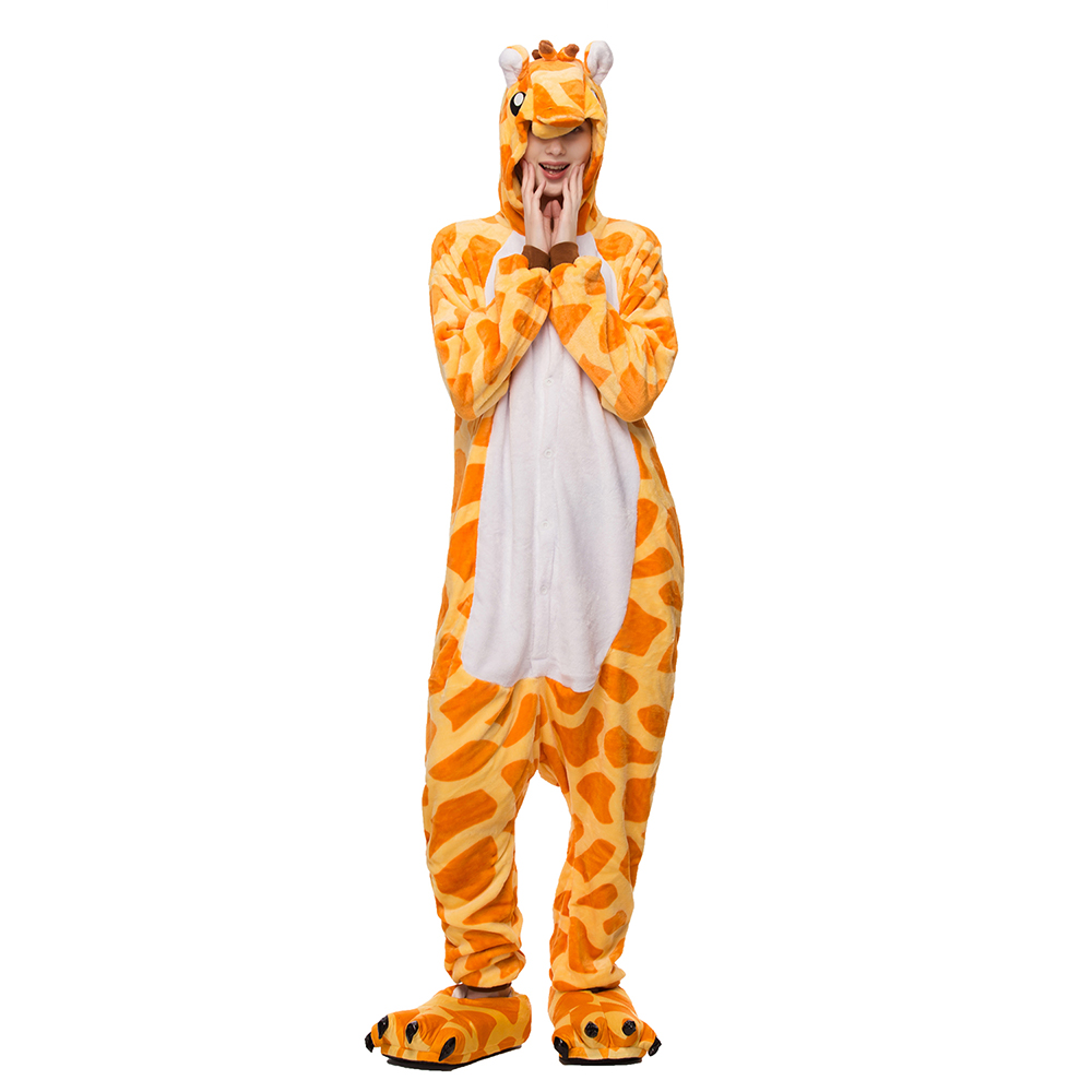Adult Onesie Kigurumi Pajamas Set Women Pyjamas Pijama Giraffe Winter Flannel Sleepwear Onepiece Warm Wear