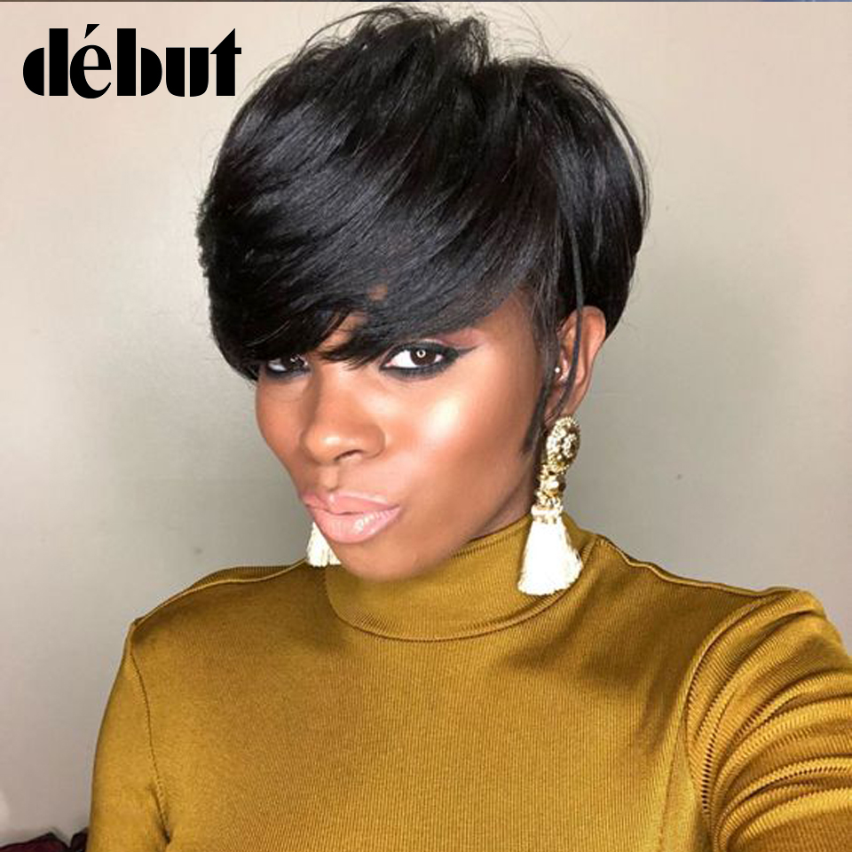 Debut Wigs For Black Women Brazilian Straight Short Ombre Bob Wig Human Hair Remy Human Hair Wigs Brown Color Free Shipping