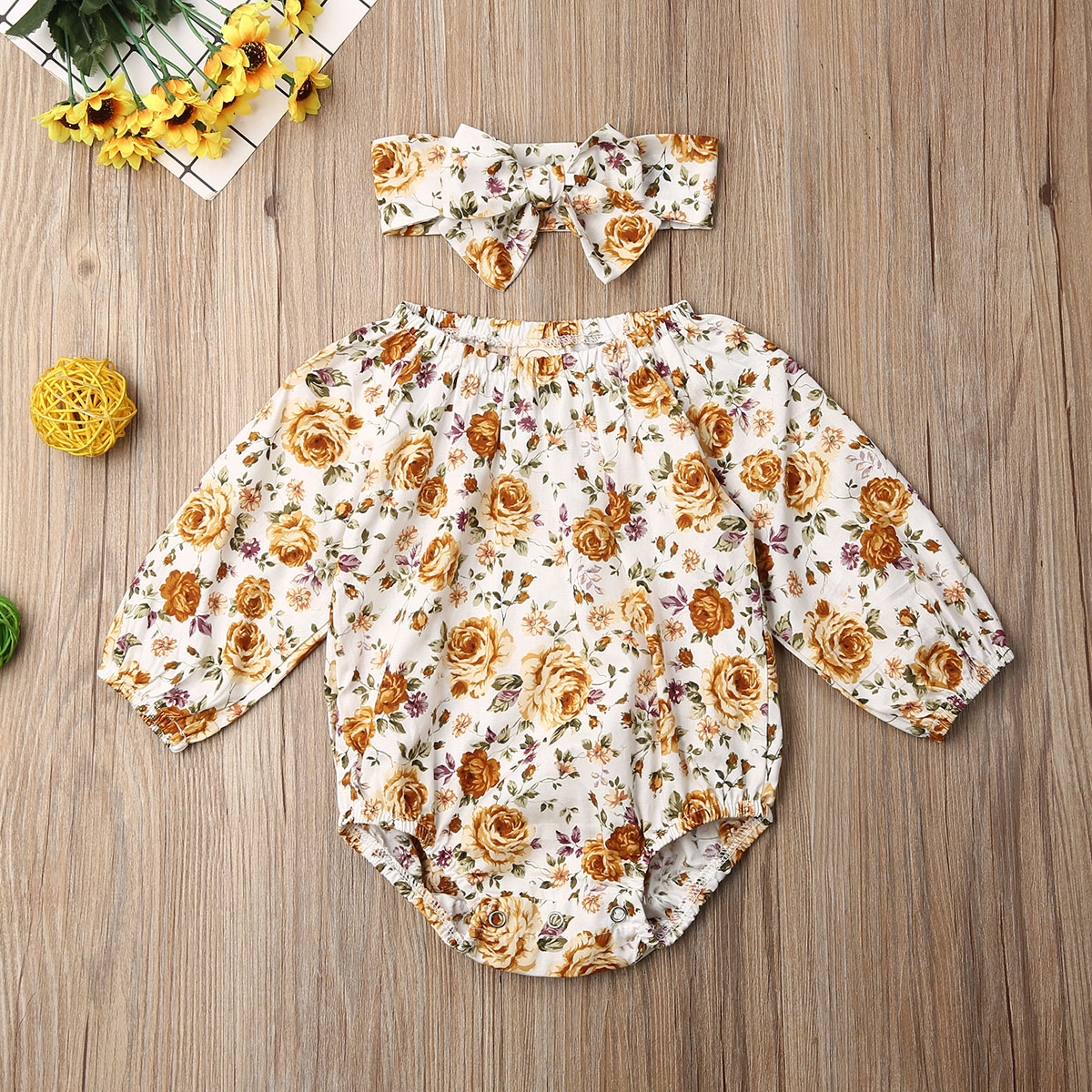 Pudcoco Newborn Baby Girl Clothes Flower Print Long Sleeve Romper Jumpsuit Headband 2Pcs Outfits Cotton Clothes