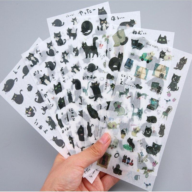6 feuilles par paquet décoratif papeterie autocollants mignon chat noir PVC papier autocollant kawaii papeterie