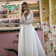 Superbe robe de mariée en Satin jupe sexy HZ32 Simple col en v à manches longues a ligne princesse robe de mariée personnalisé Vestido de novia