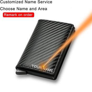 DIENQI Carbon Fiber Card Holder Wallets Men Brand Rfid Black Magic Trifold Leather Slim Mini Wallet Small Money Bag Male Purses 1