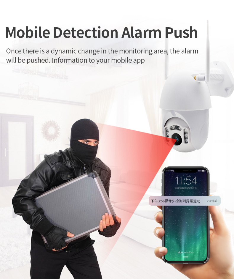 H094c5bba848c432eaff95142440995fdm Q1 Outdoor PTZ Wireless IP Camera Move Detection Infrared Night Vision Waterproof Surveillance RJ45/Wifi Dome CCTV Camera