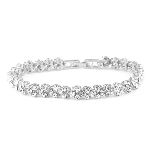 3 Colors Women Bracelets Fashion Roman Style Crystal Bracelets Silver Color Bangles for Gifts Accessories