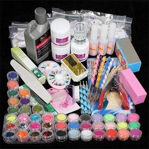 Professional 42 Acrylic Liquid Powder Glitter Clipper Primer File Nail Art Tips Tool Brush Tools Set Kit new 7